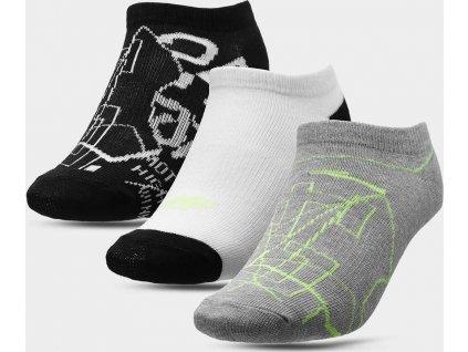 Chlapčenské ponožky 4F JSOM002 šedé_bílé_černé