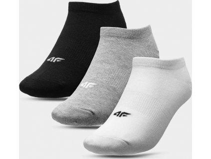 Detské ponožky 4F JSOM006 bílé_šedé_černé