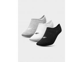 Dámské nízké ponožky 4F SOD301 Šedé_bílé_černé (3páry)