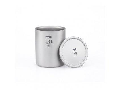 Titanový thermo hrnek s víčkem Keith Mug Double Wall 450 ml