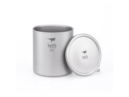 Titanový thermo hrnek s víčkem Keith Mug Double Wall 600 ml