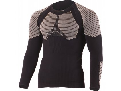 Vlněné bezešvé Merino triko WEROLO 300g - černé / šedé