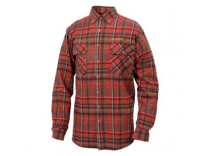 Košile flanelová 100% flanel DOVREFJELL Flanellipaita - ČERVENÁ