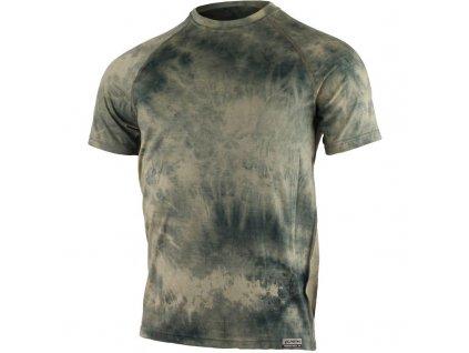 Pánské vlněné Merino tričko BUKAS 160g - batika zelená