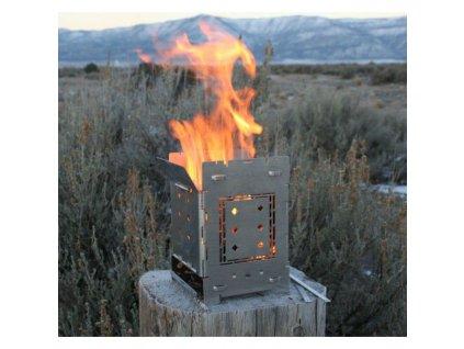 Titanový turistický vařič DŘÍVKÁČ Firebox Titanium G2 Folding Stove 450g