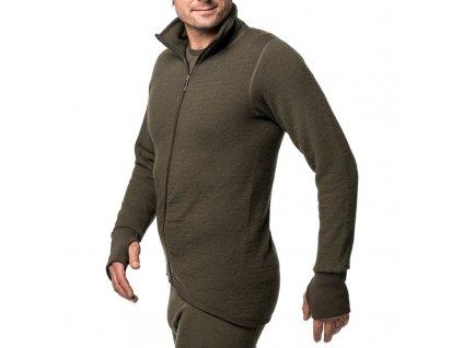Merino mikina WOOLPOWER Full Zip Jacket 400g UNISEX - Pine Green