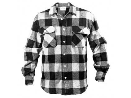 Košile dřevorubecká FLANNEL kostkovaná BÍLÁ