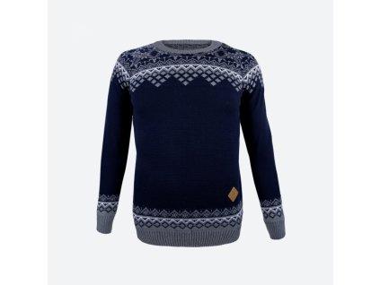 Dámský 50% Merino svetr Kama 5006 norský vzor - tmavě modrý