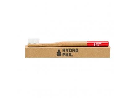 Bambusový kartáček na zuby HYDROPHIL Medium - červený