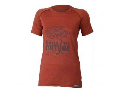 Dámské vlněné Merino triko BACK TO NATURE 160g - cihlové
