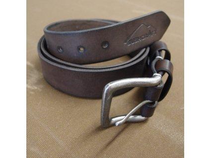 Kožený opasek JUBÖ Bushcraft (šitý) - hnědý (palisandr) - stříbrná spona