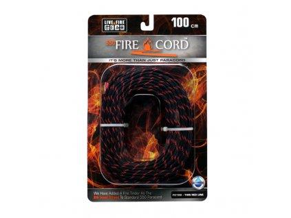 Padáková šňůra 550 FireCord 1 m - red/black