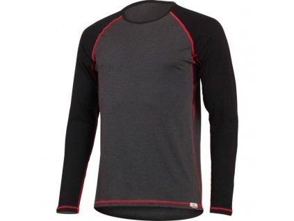 Vlněné merino triko MARIO 160g - šedočervené