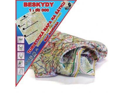 Beskydy - mapa na šátku s GPS souřadnicemi