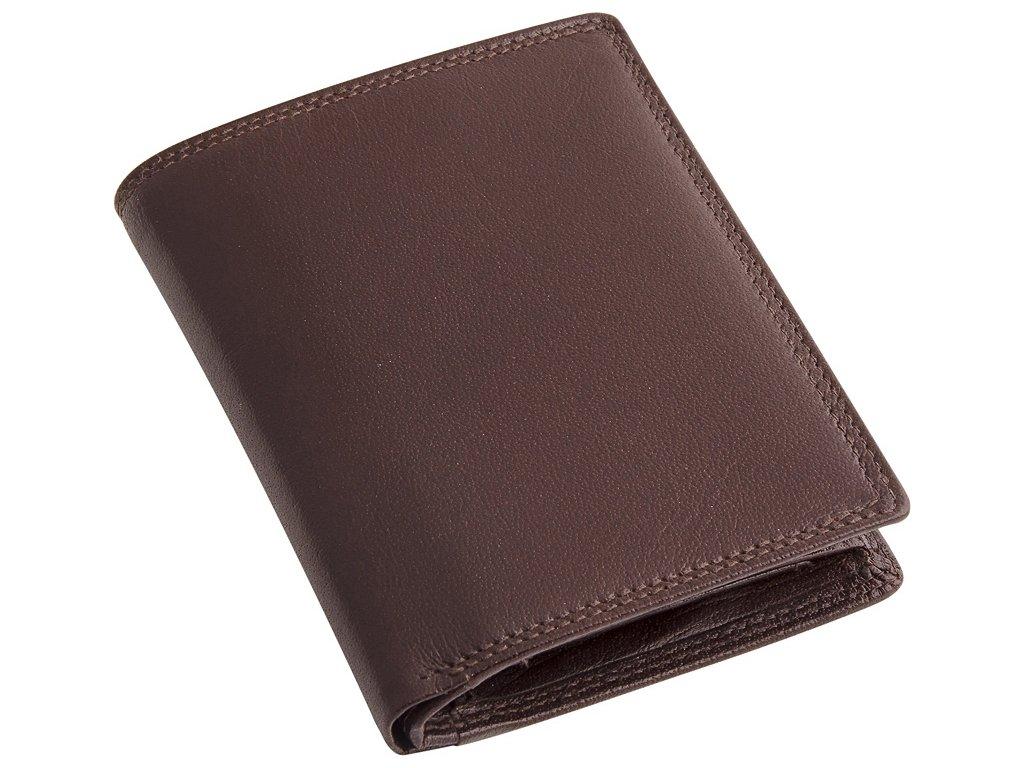 Pánská hnědá kožená peněženka - na výšku - BUSINESS STYLE 602366c5b4