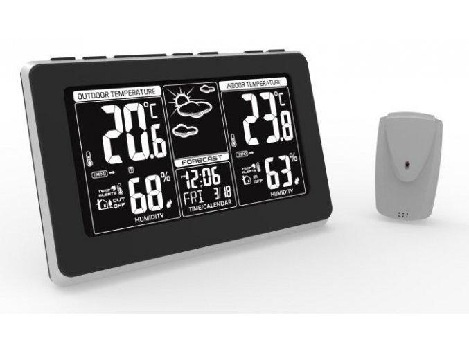 Solight meteostanice, extra velký LCD displej, teplota, vlhkost, RCC, černá, stříbrná, teplotní alarm