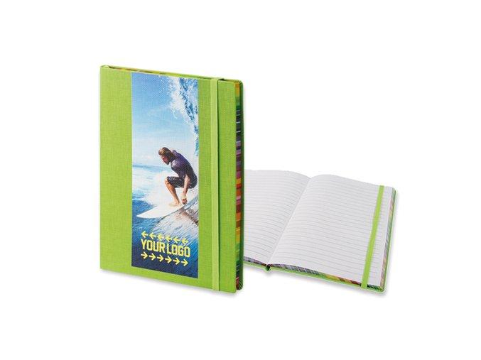 COLOR NOTE II poznámkový zápisník s gumičkou 145x210 mm, zelený