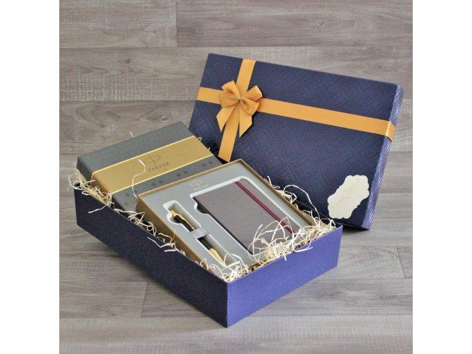 Sada pera Parker Royal IM Black a zápisníku Parker v dárkovém balení  + NÁHRADNÍ NÁPLŇ ZDARMA M modrá