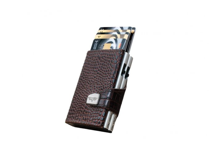 Croco Brown Silver DOUBLEWALLET ClickSlide DiagonalSlope Cards Out 27 10 4 0002 04