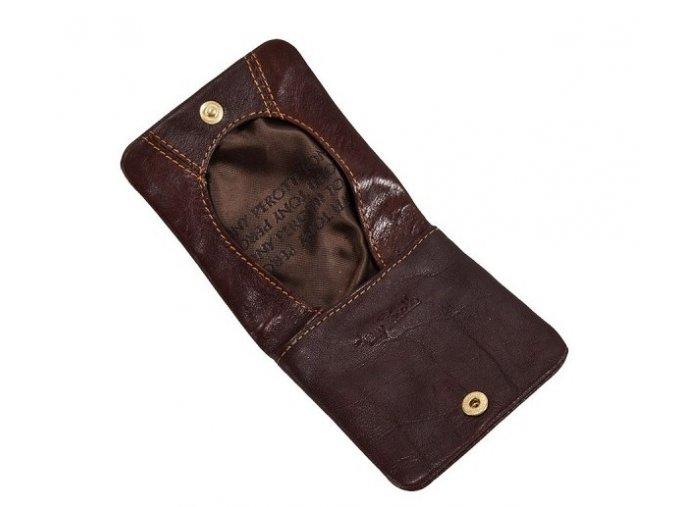 Kožená peněženka na drobné Tony Perotti, tm. hnědá
