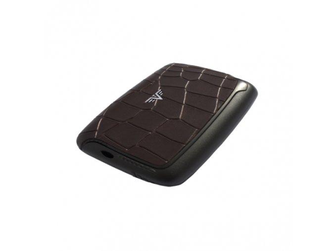 Tru Virtu hliníkové pouzdro Card Case Leather - hnědá krokodýlí kůže