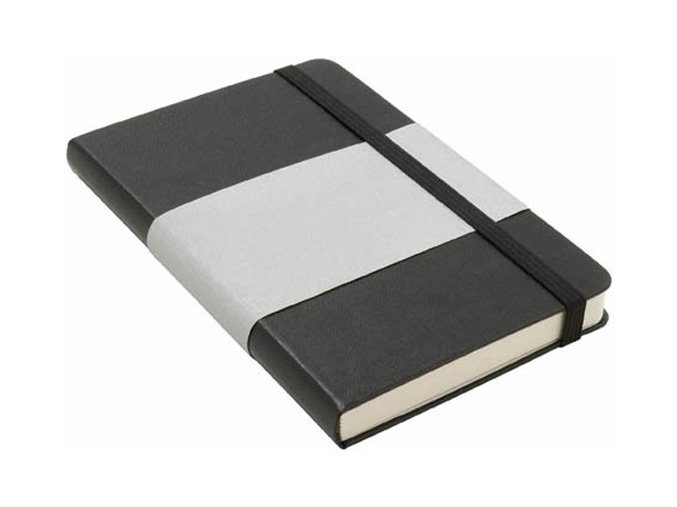 Balmain zápisník A6 s elastickým poutkem, koženkový, černý