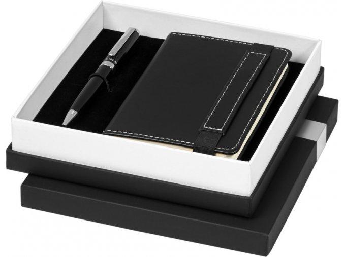 Legatto A6 dárková sada zápisník a kuličková tužka, černá sytá