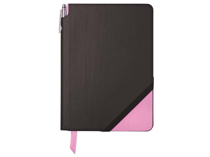 Cross linkovaný zápisník Jot Zone Medium Black/Pink + kuličkové pero