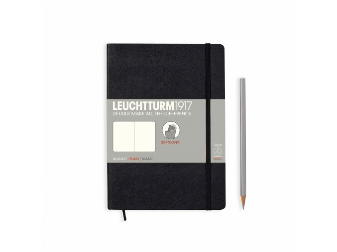 notebook medium a5 softcover 121 numbered pages black plain