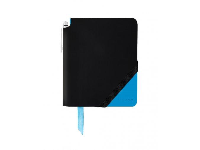 Cross linkovaný zápisník Jot Zone Small Black/Bright Blue + kuličkové pero