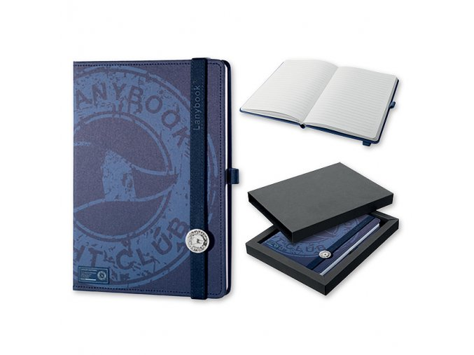 LANYBOOK YACHT CLUB poznámkový linkovaný zápisník s gumičkou 140x205 mm - modrý