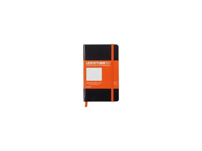 Zápisník Leuchtturm 1917 Whitelines Pocket, tečkovaný - černý A6