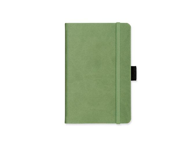 LANYO II poznámkový zápisník s gumičkou 132x213 mm, smetanově zelená