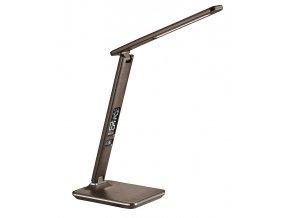 Solight LED stolní lampička s displayem, 9W, volba teploty světla, kůže, hnědá