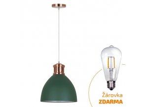 Solight lustr Bari, 30 cm, E27, zelená