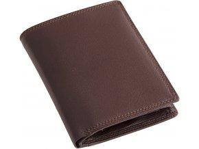 Pánská hnědá kožená peněženka - na výšku
