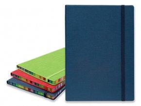 COLOR NOTE II poznámkový zápisník s gumičkou 145x210 mm, modrý