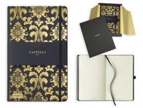 CASTELLI GOLD poznámkový zápisník s gumičkou 130x210 mm, zlatá