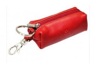 Kožená klíčenka uzavíratelná na zip Tony Perotti-109-červená