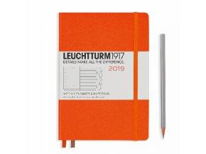 wochenkalender und notizbuch medium a5 2019 mit extraheft orange englisch