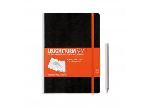 academy block medium a5 whitelines link hardcover 60 blatt schwarz orange dotted