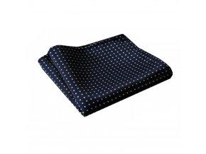 Hedvábný kapesníček modrý s tečkou