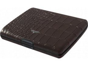 Tru Virtu hliníková peněženka s kůží Papers & Cards Ray - hnědá krokodýlí kůže