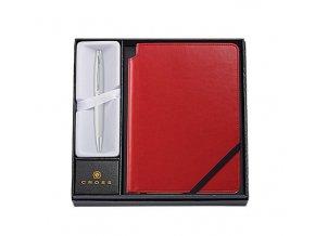 Cross Calais Satin Chrome, kuličkové pero a červený zápisník