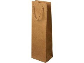 Papírová taška 12x9x40 cm, textilní šňůra, natural