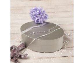 Dárková krabička oválná stříbrná
