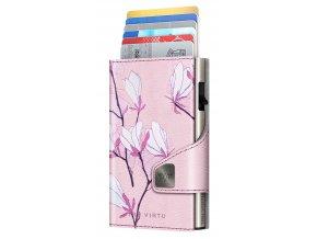 Diagonal Wallet CLICK SLIDE Cherry Blossom Silver