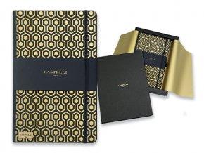 CASTELLI HONEYCOMB poznámkový zápisník s gumičkou 130x210 mm, zlatá