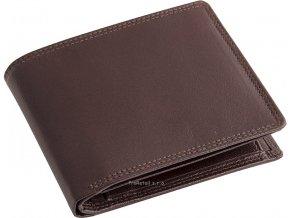 Pánská hnědá kožená peněženka - na šířku