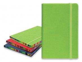 COLOR NOTE I poznámkový zápisník s gumičkou 90x140 mm, zelený